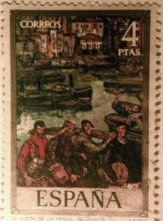 """Espapña. José Romano Gutiérrez-Solana y Gutiérrez-Solana, conocido como José Gutiérrez-Solana, fue un pintor, grabador y escritor expresionista español. En este sello se representa una de sus obras: """"La vuelta de la pesca"""". Old Stamps, Rare Stamps, Postage Stamps, Spain, Poster, Eagles, Postcards, Artist, Europe"""