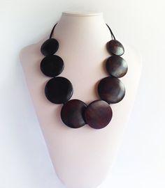Ria - Dark Wooden Disc | Indigo Heart - Fair Trade Fashion A$18.95 Fair Trade Fashion, Disc Necklace, Bali, Indigo, Jewelry Accessories, Artisan, Drop Earrings, Heart, Collection
