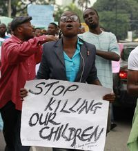 Nigeria police: 276 abducted girls still missing. People attend a demonstration calling on  the government to rescue kidnapped school girls. Students from other schools were brought into one school for final exams last month after all schools in Borno state were shut because of attacks by Islamic extremists. AP. May 2, 2014