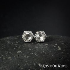 6f83c7bab White Gold Hexagon Rose Cut Diamond Studs, Dainty Everyday Diamond Stud  Earrings, April Birthstone Earrings