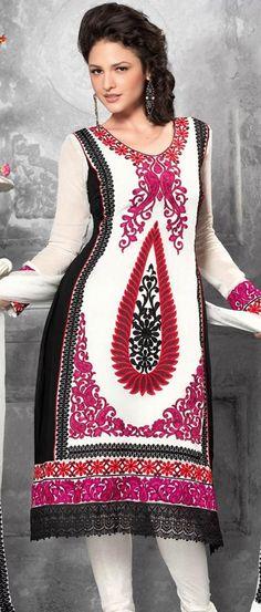 $84.16 Pink Full Sleeve Faux Georgette Knee Length Churidar Suit 18687