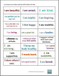positive affirmation notes for kids: lunchbox love