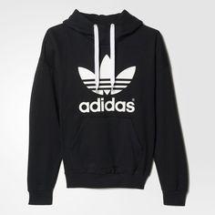 adidas Trefoil Hoodie - Svart | adidas Sweden ❤ liked on Polyvore featuring tops, hoodies, hooded pullover, adidas top, adidas hoodies, hoodie top and hooded sweatshirt