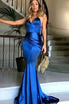 mermaid royal blue prom party dresses,  elegant evening gowns with train, fashion v-neck formal party dresses.