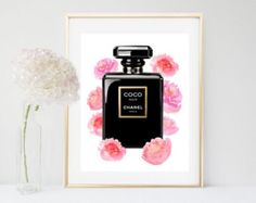 Items similar to Chanel No5 Printed fashion poster watercolor red poppies poppy print 24x36 Coco Chanel Chanel no 5 fashion designer fashion illustration no5 on Etsy