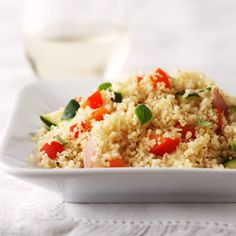 Our Lemon Veggie Couscous with zucchini and sweet peppers is a great summer side dish. Recipe: http://www.bhg.com/recipe/beans-rice-grains/lemon-veggie-couscous/?socsrc=bhgpin053112