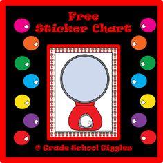 Grade School Giggles: Free Bubblegum Sticker Chart
