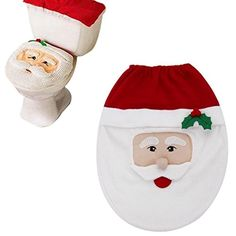 DFoxes Christmas Decoration Santa Claus Toilet Lid Cover for Bathroom Home Decorations Santa Claus Pattern 2 >>> Learn more by visiting the image link.  This link participates in Amazon Service LLC Associates Program, a program designed to let participant earn advertising fees by advertising and linking to Amazon.com.