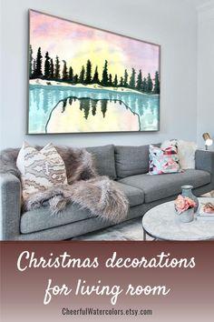Christmas decorations bedroom Watercolor Art Paintings, Watercolors, Printable Paper, Printable Wall Art, Christmas Mantels, Christmas Decorations, Bohemian Furniture, Rustic Curtains, Colorful Wall Art