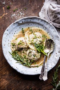 Mushroom Cheese Ravioli with Rosemary Butter Sauce by halflblakedharvest #Ravioli #Mushroom #Cheese
