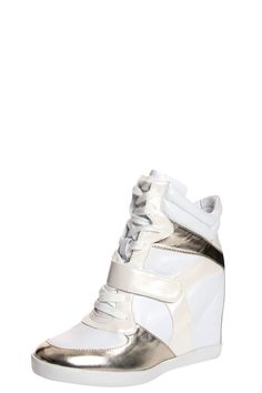 Lucille Gold Metallic Trim Hi Top Wedge... want them!