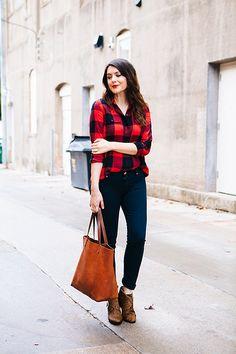Plaid shirt, dark wash skinny jeans, booties