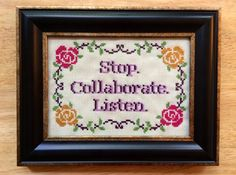 Ice Ice Baby.    This original sampler is stitched in pink, purple, green and gold DMC floss on an ivory background. Framed in a lovely distressed