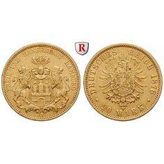 Deutsches Kaiserreich, Hamburg, 20 Mark 1876, J, ss-vz, J. 210: 20 Mark 1876 J. J. 210; GOLD, sehr schön - vorzüglich,… #coins #numismatics