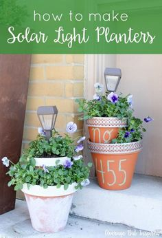 Add some height and light to your planters with these easy DIY Solar Light Planters. Get the full tutorial in this post. Add some height and light to your flower pots with these easy DIY Solar Light Planters. Get the full tutorial in this post. Clay Flower Pots, Flower Pot Crafts, Clay Pot Crafts, Clay Pots, Solar Light Crafts, Diy Solar, Solaire Diy, Stacked Pots, Organization Ideas