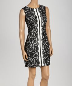 White & Black Lace Zip-Up Dress