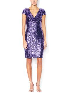 Badgley Mischka Collection Sequin Cowlneck Cocktail Dress