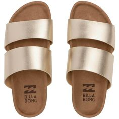 Billabong Women's Shore Thing Sandals (602.890 IDR) ❤ liked on Polyvore featuring shoes, sandals, flats, footwear, sapatos, gold, shiny shoes, slip on sandals, black and gold shoes and black and gold flats