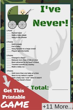 Camo Baby Shower Theme    Having a camo baby shower theme, then you need this printable baby shower game.