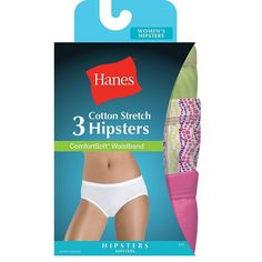 cf80bdf0e1b 3-Pack Hanes Women s Cotton Stretch Hipster Panties - Assorted Colors - Size  4-