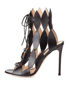 Gianvito Rossi Diamond Cutout Lace-Up Sandal, Nero