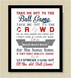 Take Me Out to the Ballgame Print  Nursery Art by CoCoStineDesigns, $15.00