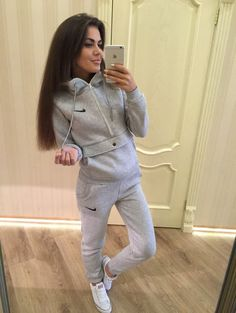 #tracksuit #button #gray Stylish ladies gray big pocket tracksuit