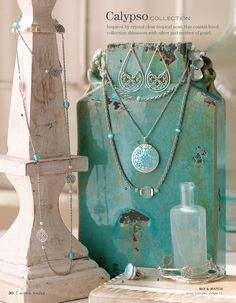 Sara's Calypso collection is so fresh & modern.This would be perfect to wear for Spring & Summer. & I love the Mother of Pearl , Silver & Amazonite look. Put on the Calypso dangle earrings for a twist on hoops- I love Sara's detailing work.