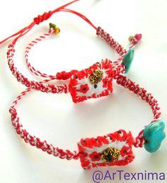 March bracelet by ArTexnima Textile Jewelry, Fabric Jewelry, Jewelry Art, Japanese Ornaments, Handmade Bracelets, Handmade Jewelry, Handmade Art, Friendship Bracelets, Jewerly