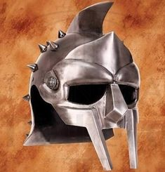 Find licensed armor and weapons from the classic movie Gladiator, like this antiqued steel Helmet of the Spaniard. Roman Soldier Helmet, Roman Helmet, Gladiator Movie, Gladiator Helmet, Helmet Drawing, Roman Man, Helmets For Sale, Types Of Armor, Rose Tattoos For Men