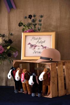 Horse adoption table from a Rustic Equestrian Horse Birthday Party on Kara's Party Ideas | KarasPartyIdeas.com (15)