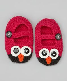 This Pink & Brown Owl Crochet Booties by Bébé Oh La La is perfect! #zulilyfinds