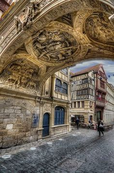 Rouen, Haute-Normandie, France - they just don't make things like they use to! If you could create, what would it be? Places Around The World, Oh The Places You'll Go, Places To Travel, Places To Visit, Around The Worlds, Wonderful Places, Beautiful Places, Belle France, Beaux Villages