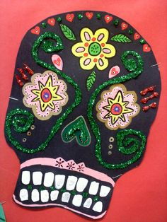 Day of the Dead - Art project if studying Mexico. Halloween Art Projects, Fall Art Projects, School Art Projects, Mexico Crafts, Spanish Art, Spanish Class, Hispanic Art, October Art, Day Of The Dead Art