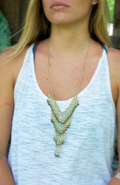 Tiered Gold Boho Statement Necklace with Color Variations on Etsy, $35.00