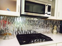 """Eden Mosaic Tile Modern Random Mixed Tile With White Glass And Textured Metal EMT_122-MIX-MRFP.  """"We Love This Beautiful Unique Tile. Our Kitchen Is Perfect Now"""". Testimonial by Iza C."""