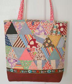 Antique quilt top tote bag