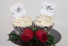Mr & Mrs cupcake wedding toppers