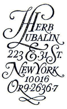Lettering by Herb Lubalin displaying his studio address. Article: Understanding the difference between typography and lettering. Typography Love, Typography Letters, Graphic Design Typography, Lettering Design, Creative Typography, Script Lettering, Script Type, Vintage Typography, Herb Lubalin
