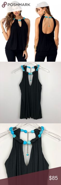 "Sky | Ardra Top Black Turquoise Stone Tank Medium Soft and stretchy jersey tank. Keyhole front and low scoop back. Turquoise stone necklace collar. Adjustable clasp back.   ▪️Pit To Pit: 17"" ▪️Length: 26"" ▪️Condition: NWT. New.   ▫️O7 Sky Tops Tank Tops"