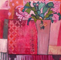 """Contemporary Expressionist Still Life Art Painting """"Gypsy Table"""" by Santa Fe Artist Annie O'Brien Gonzales Mixed Media on Canvas This painting is sold, however, commissions are welcome. Painting Still Life, Still Life Art, Art Floral, Illustration Plate, Guache, Abstract Flowers, Contemporary Paintings, Painting Inspiration, Art Lessons"""