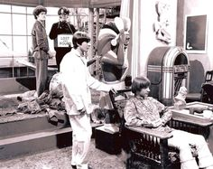"""Micky Dolenz, Mike Nesmith, Davy Jones & Peter Tork on the set of """"The Monkees"""" ca. 1967"""