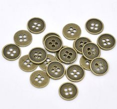 PEPPERLONELY Brand 50PC Antiqued Bronze Metal 4 Holes Scr...