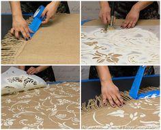 Stencil an allover Flourish stencil from Royal Design Studio on a burlap tablecloth. Easy stencil technique!