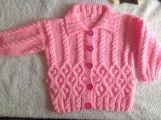 Diy Crafts - Coat n hat -k Free Aran Knitting Patterns, Baby Cardigan Knitting Pattern Free, Baby Sweater Patterns, Baby Hats Knitting, Knit Baby Dress, Crochet Baby Cardigan, Knitting Dolls Clothes, Baby Girl Sweaters, Pulls