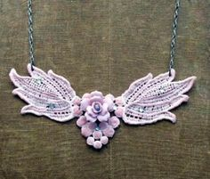 This Stunning Lace DIY Necklace is the perfect way to reuse some of those pieces of jewelry that have broken off. Super easy, too!