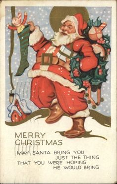 Christmas Greeting Santa Claus Art Deco Gilt Embossed c1910 Postcard | eBay