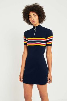 Slide View: 5: Urban Outfitters Striped Ribbed Zip-Up Mock Neck T-Shirt Dress