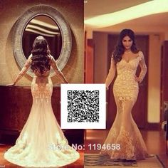2014 Sexy Mermaid Champagne Embroidery Lace Prom Dress Sweetheart Long Sleeves Evening Gown Free Shipping F&M-1003