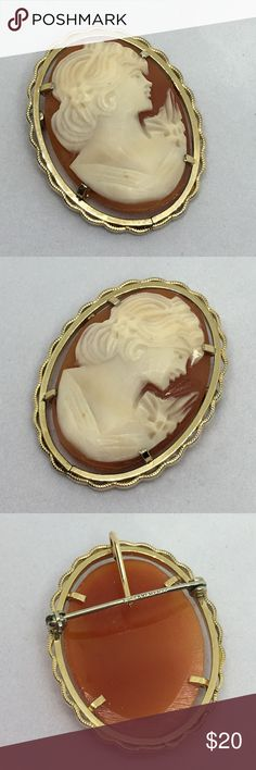 """🆕Vintage Krementz 12K GF Carved Shell Cameo A dainty 1 1/8"""" x 7/8"""" Cameo by Krementz. 12K GF, marked on the pin as shown. When the pin catch is locked, you can wear this piece as a pendant. Beautiful detail. In excellent vintage condition. Vintage Jewelry Brooches"""